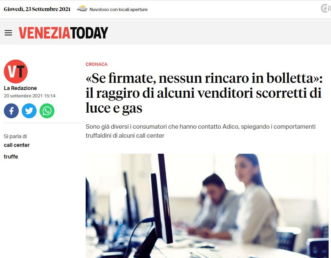 la fake news di venezia today. non c è truffa si può risparmiare